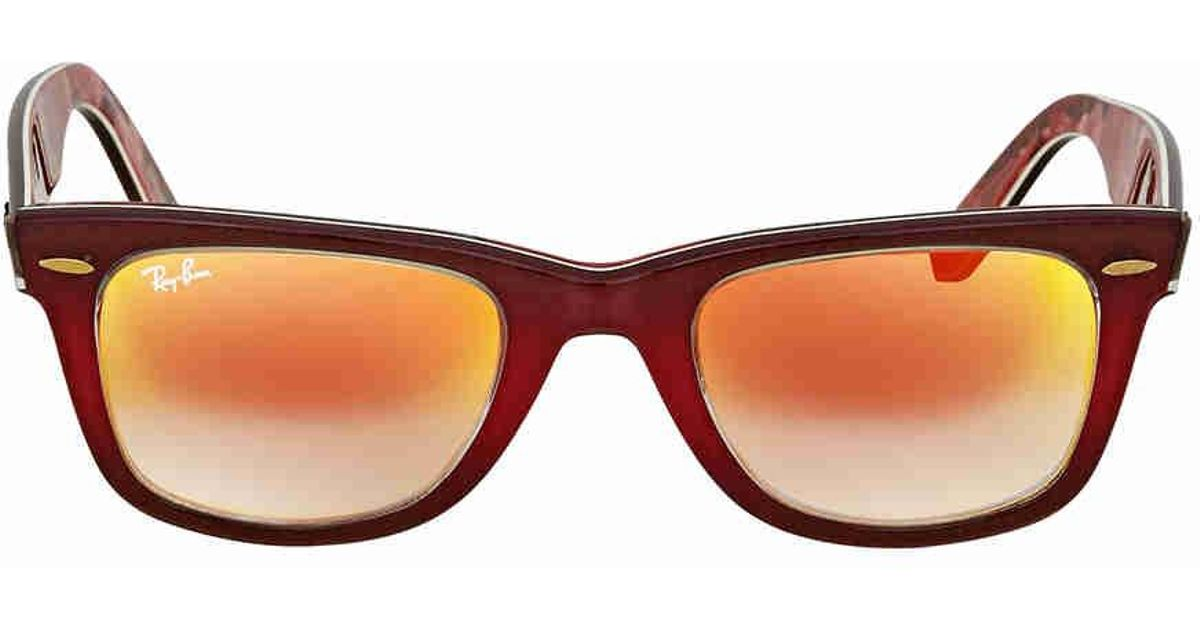 ad745b223e Ray-Ban Ray Ban Original Wayfarer Floral Orange Gradient Flash Wayfarer  Sunglasses Rb2140 12004w 50 in Brown - Lyst