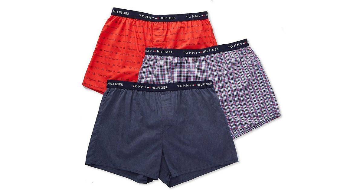 f3c0626e7228 Lyst - Tommy Hilfiger 09tv066 Cotton Classics Slim Fit Woven Boxers - 3 Pack  in Blue for Men