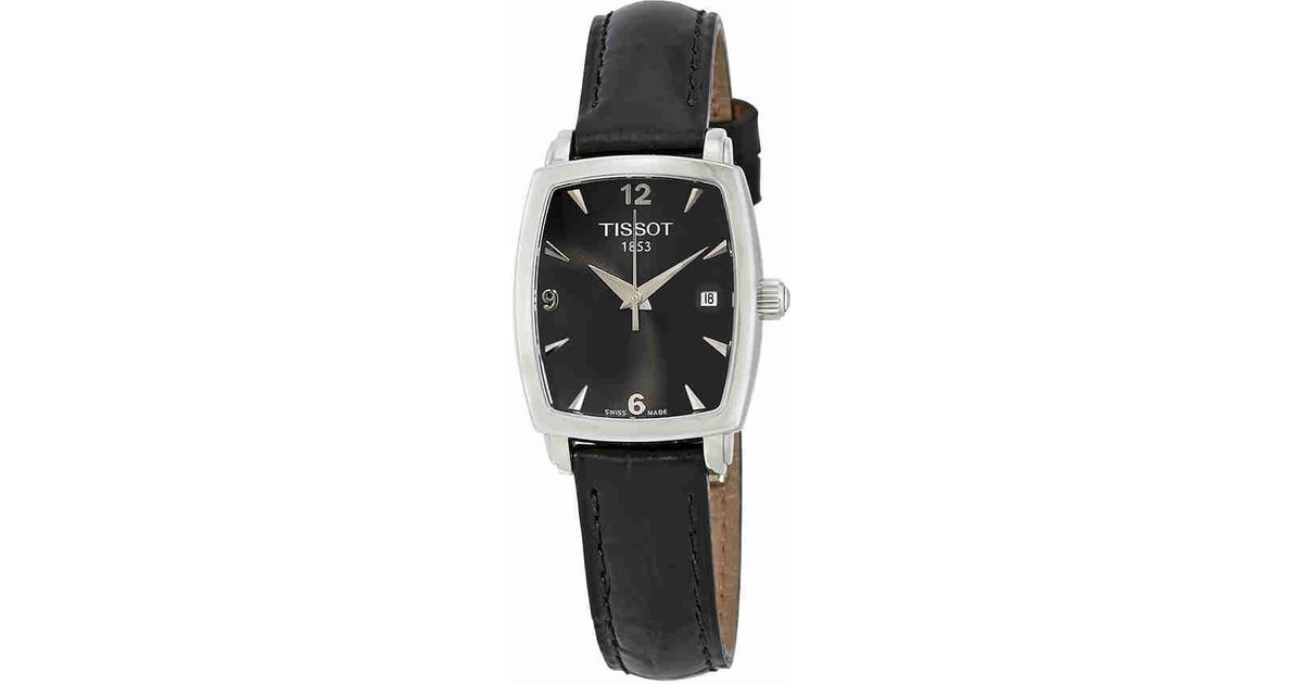 Lyst - Tissot T0579101605700 Everytime Black Leather Black Dial Watch in  Black 731d537a65