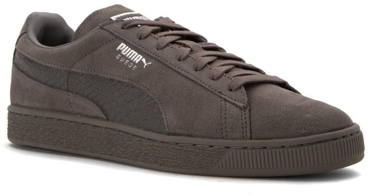 new style 0abb3 f241b PUMA - Gray Suede Classic Mono Reptile Fashion Sneakers for Men - Lyst