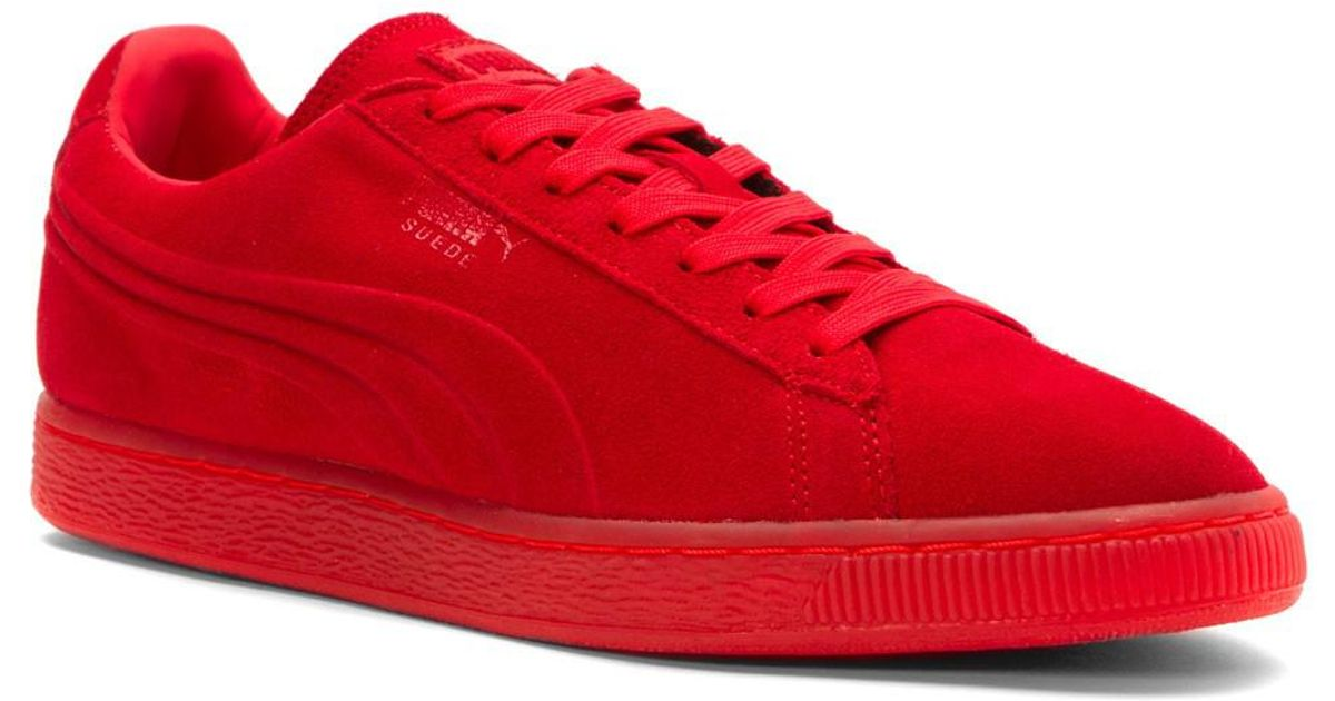 f67a621370f00e Lyst - Puma Suede Embossed Iced Fashion Sneakers in Red for Men