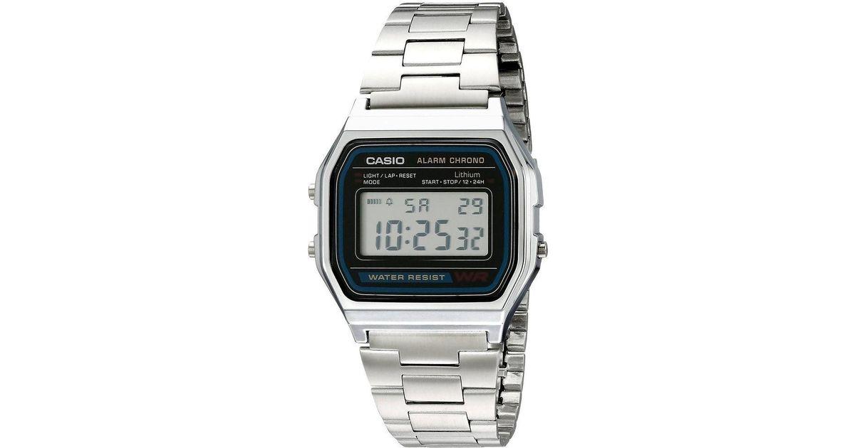 c04fec6d2fb Lyst - G-Shock A158wa-1 Vintage Metal Band Chronograph Alarm Digital Watch  in Metallic for Men