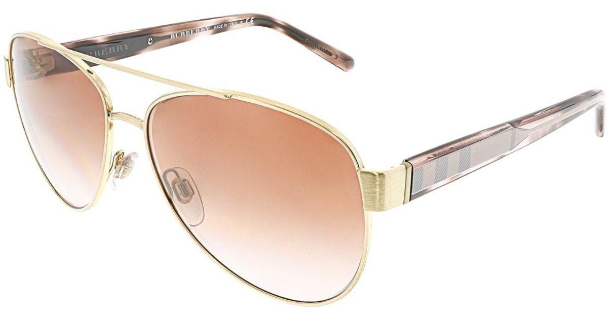 b7b8c2f780a Lyst - Burberry Gradient Be3084-105213-57 Gold Aviator Sunglasses in  Metallic