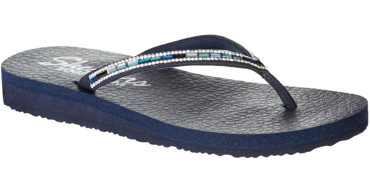 42d3ee95e0fa Lyst - Skechers Womens Asana Rhinestone Flip Flops 7 in Blue