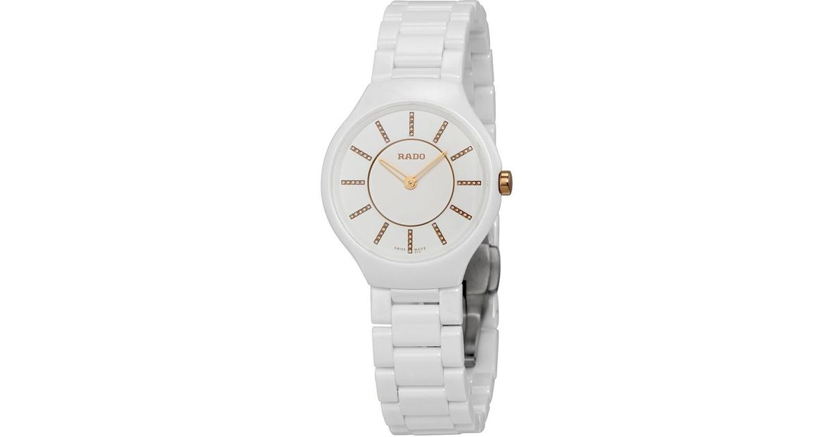 98fe1797f26 Lyst - Rado Thinline Jubile White Ceramic Ladies Watch R27958702 in White