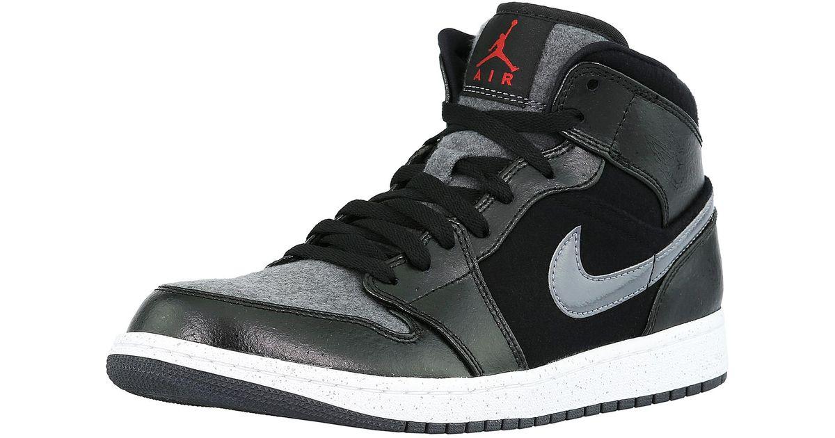 Lyst - Nike Air Jordan 1 Mid Prem Black   Gym Red-dark Grey-white  Ankle-high Leather Fashion Sneaker in Black for Men 0aa1cbfd7