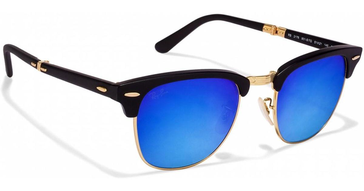 7abbd72b20adb Ray-Ban 0rb2176 901s7q 51 Matte Black blu Flash Gradient Clubmaster Folding  Icons Sunglasses in Blue for Men - Lyst