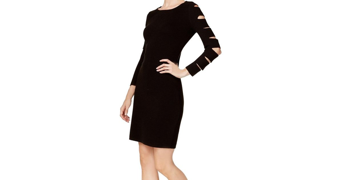 0a5144e2994 Lyst - Calvin Klein Cutout Sleeve Fitted Party Dress in Black