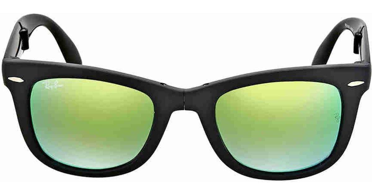 f15a4966b3 Lyst - Ray-Ban Ray Ban Wayfarer Folding Green Gradient Flash Sunglasses in  Green