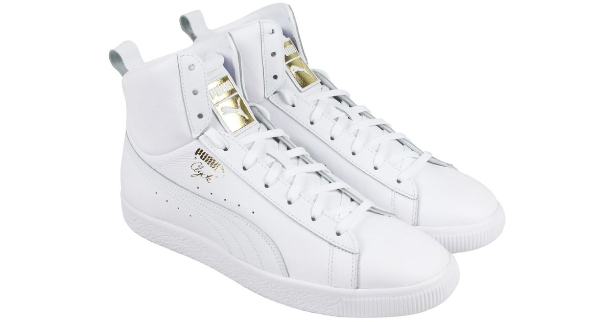 185cad2a654d Lyst - PUMA Clyde Mid Core Foil White Mens High Top Sneakers in White for  Men