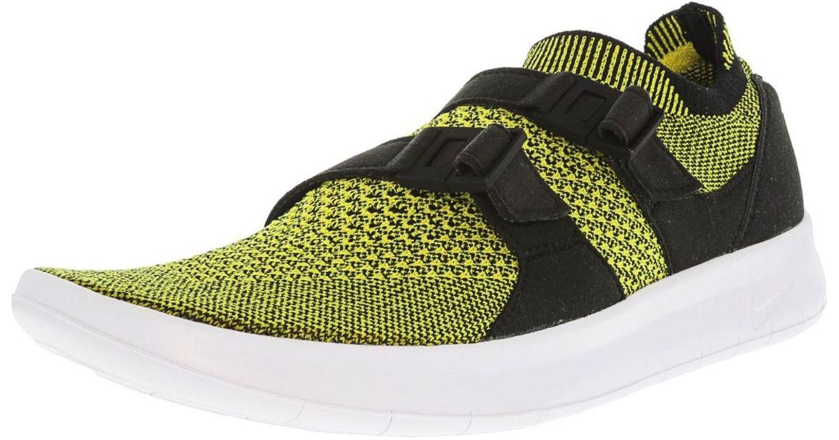 fe56d4904e578 ... promo code for lyst nike air sockracer flyknit black white yellow  strike ankle high running shoe