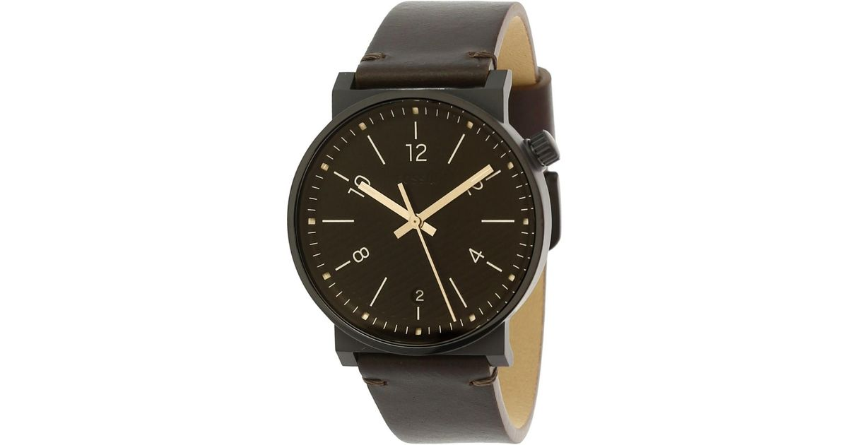 8df4d87c1 Fossil Fossil Barstow Brown Leather Watch in Black for Men - Lyst
