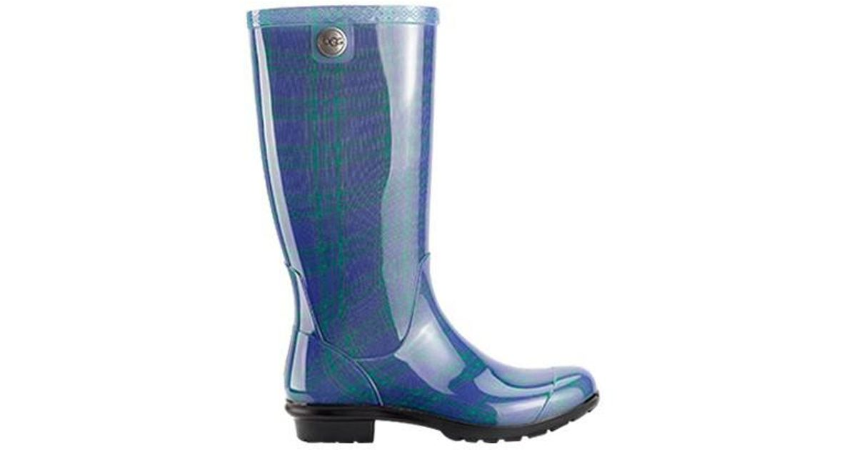 fb4da7224dc Ugg - Blue Ugg Shaye Plaid Rain Boot - Lyst