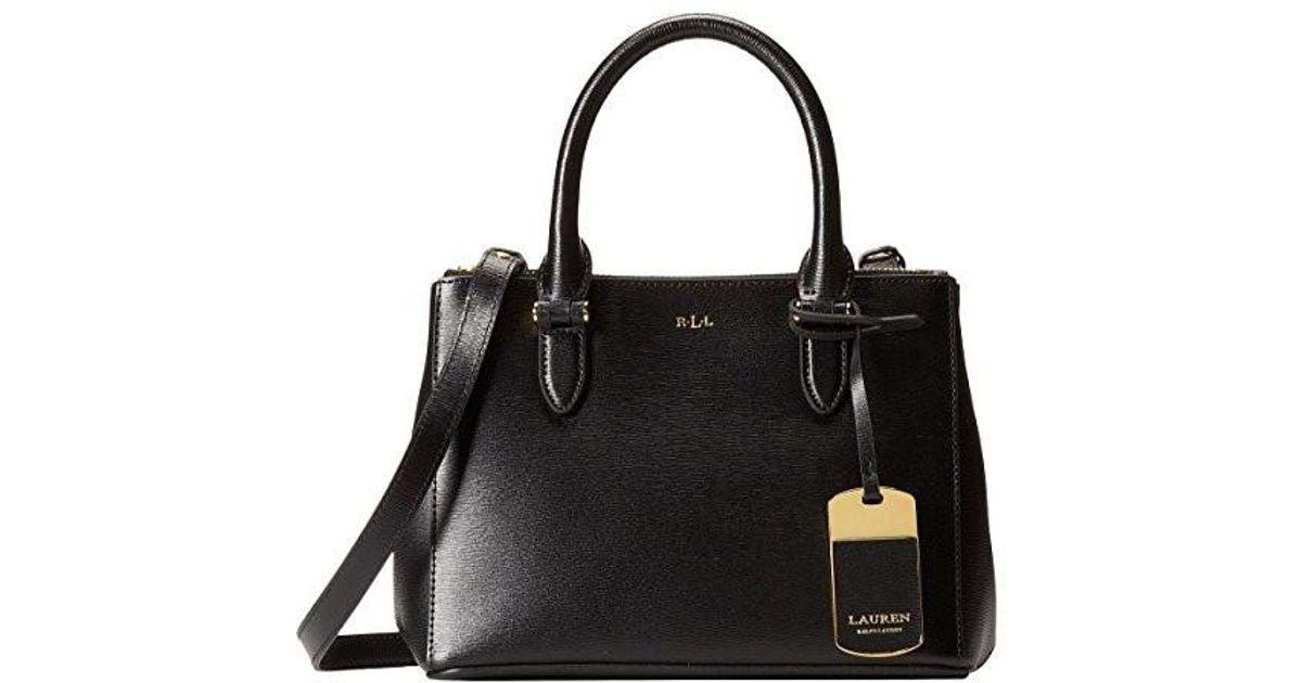 cf018d723d ... best price lyst polo ralph lauren womens newbury leather mini satchel  handbag in black 7fdd7 e5002 ...
