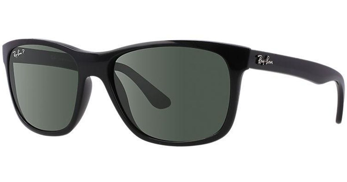 3414370a440 ... inexpensive lyst ray ban polarized highstreet rb4181 601 9a 57 black  square sunglasses in black for