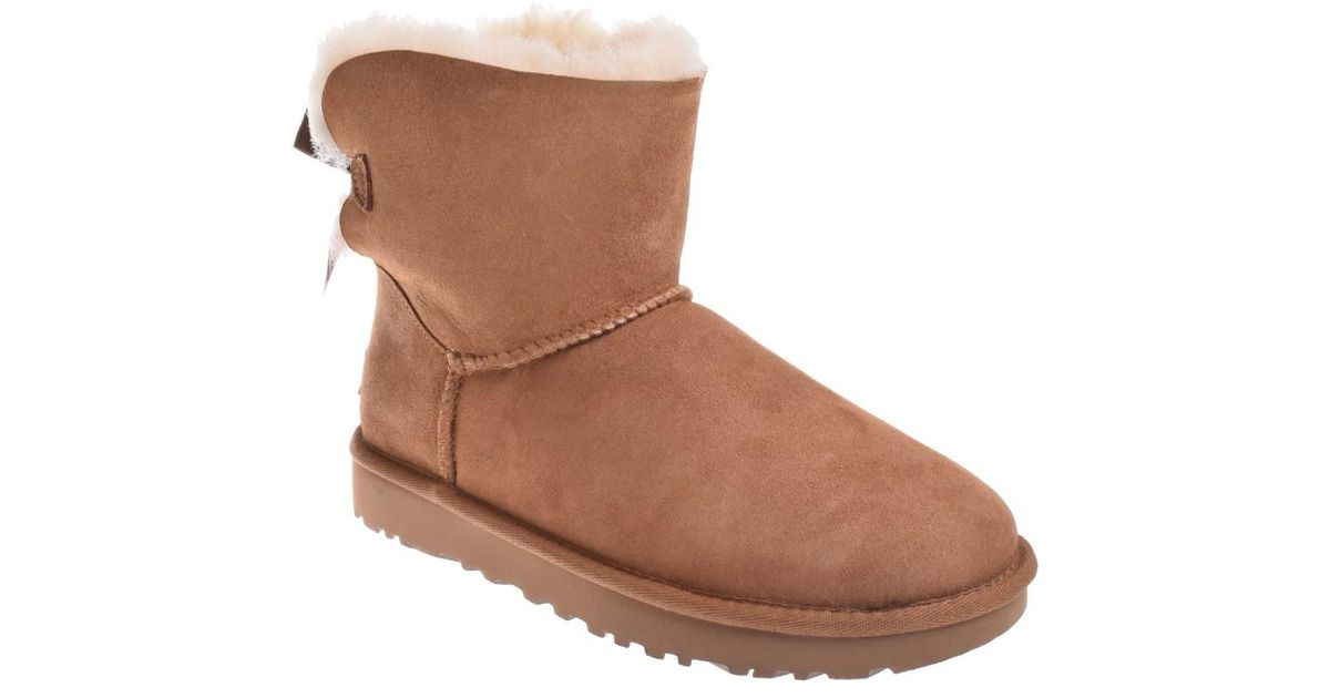 920ca8d10b1 Ugg - Brown Ugg Mini Bailey Bow Chestnut Ankle-high Suede Boot - Lyst