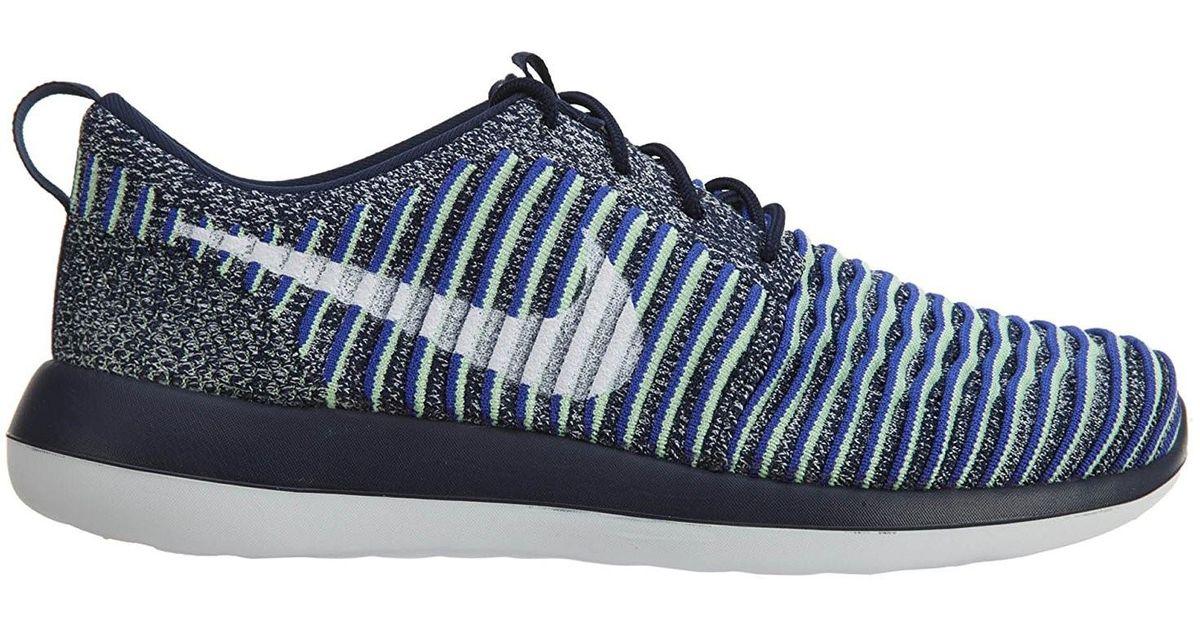 finest selection 01dff e3bcb Nike - Roshe Two Flyknit College Navy/white/white Binary Blue Running Shoe  8.5 Women Us - Lyst