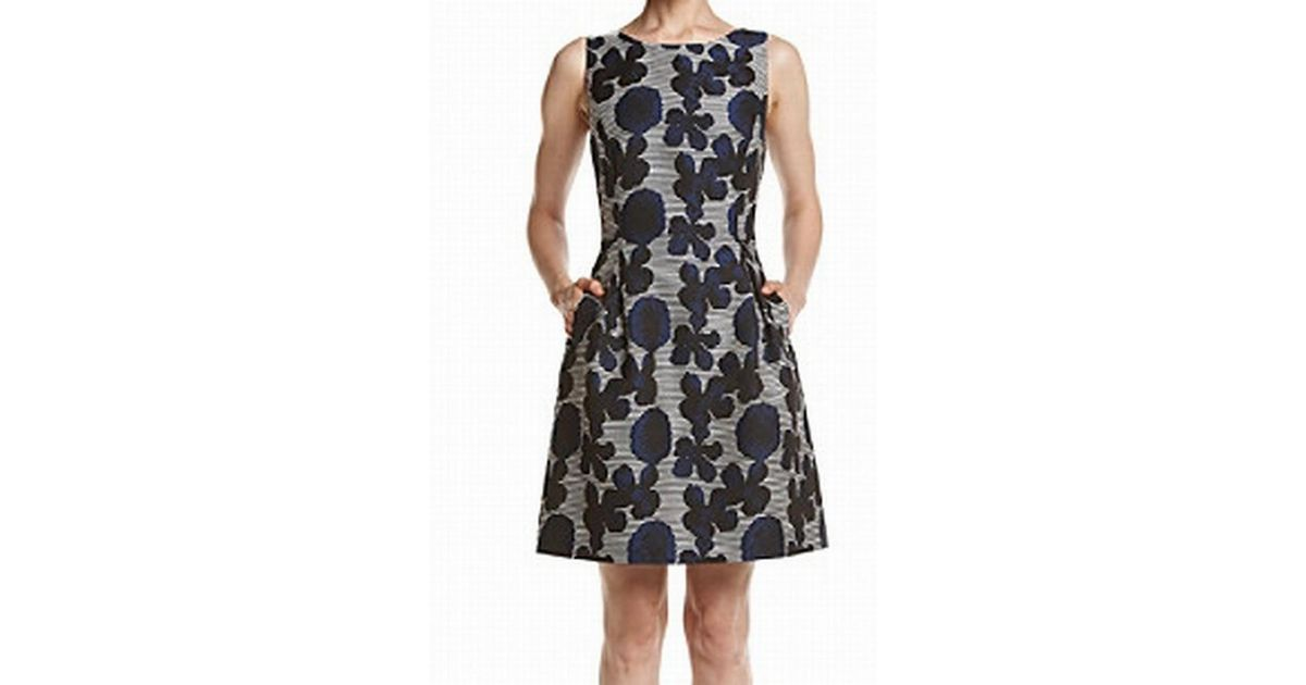 31d0bf94865 Lyst - Tommy Hilfiger Blue 10 Floral Print A-line Pleated Dress in Blue