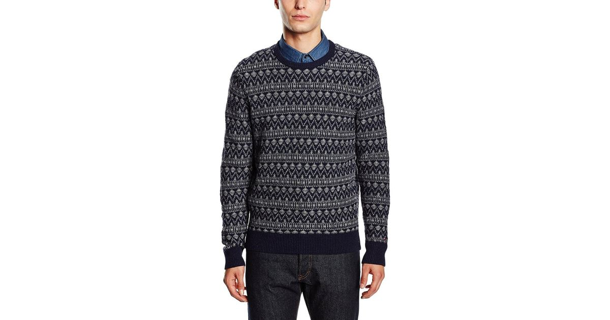 Tommy hilfiger Lambswool Blend Fair Isle Crewneck Sweater Navy ...