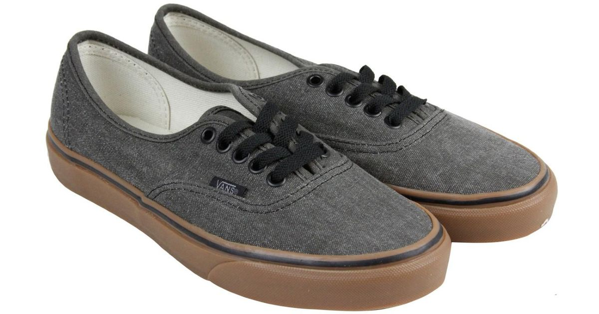 dda24424e8 Lyst - Vans Authentic Washed Canvas Gum Lace Up Sneakers in Black for Men