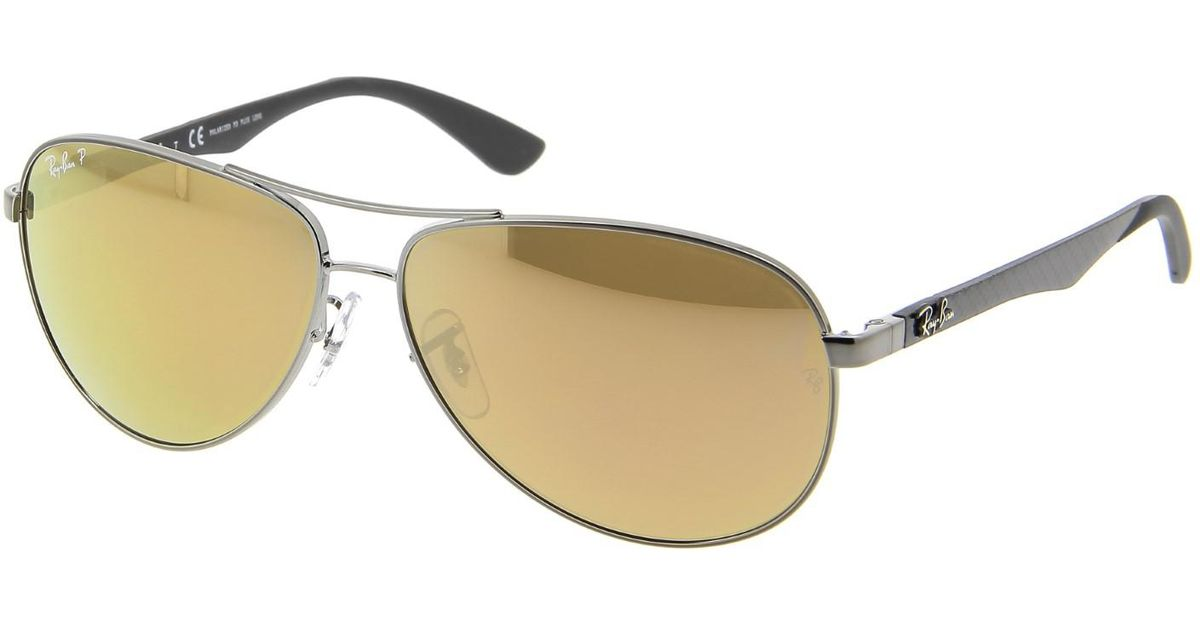 f6e9c8580a Lyst - Ray-Ban 0rb8313 004 n3 61 Shiny Gunmetal brown Mirror Gold Polar Carbon  Fibre Tech Sunglasses