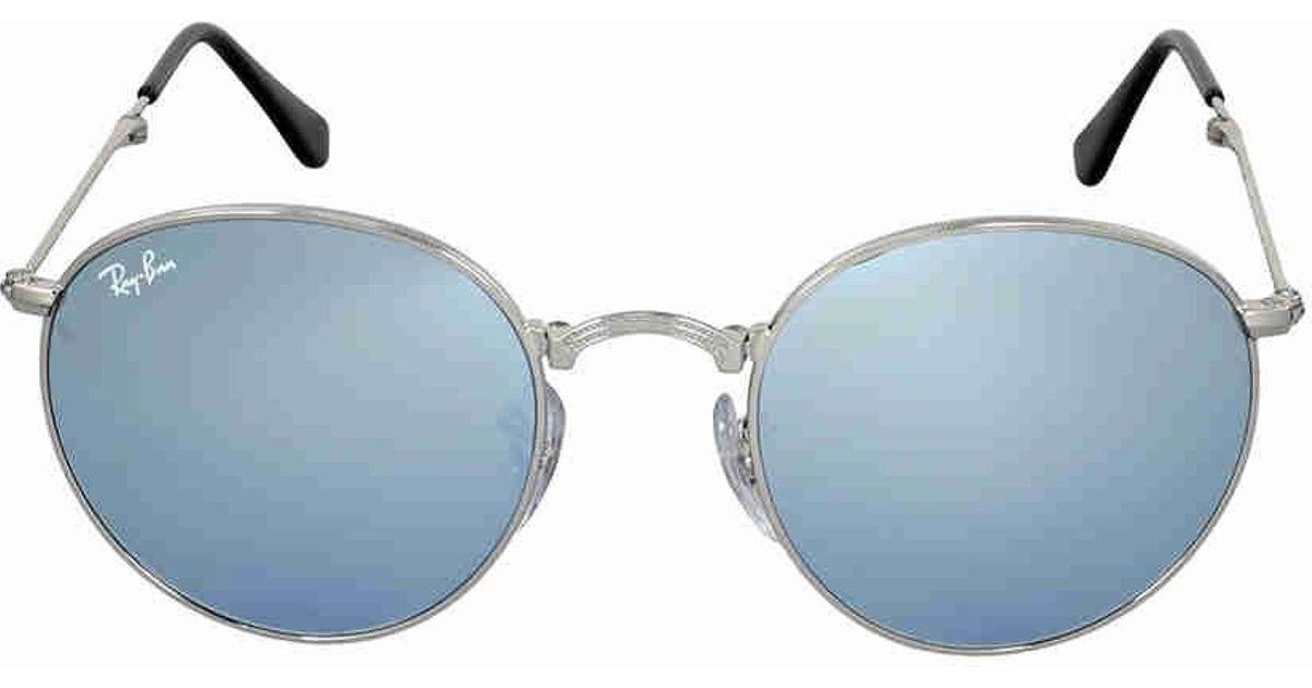b0090462ea Lyst - Ray-Ban Round Metal Folding Silver Flash Sunglasses Rb3532 003 30 50  in Blue