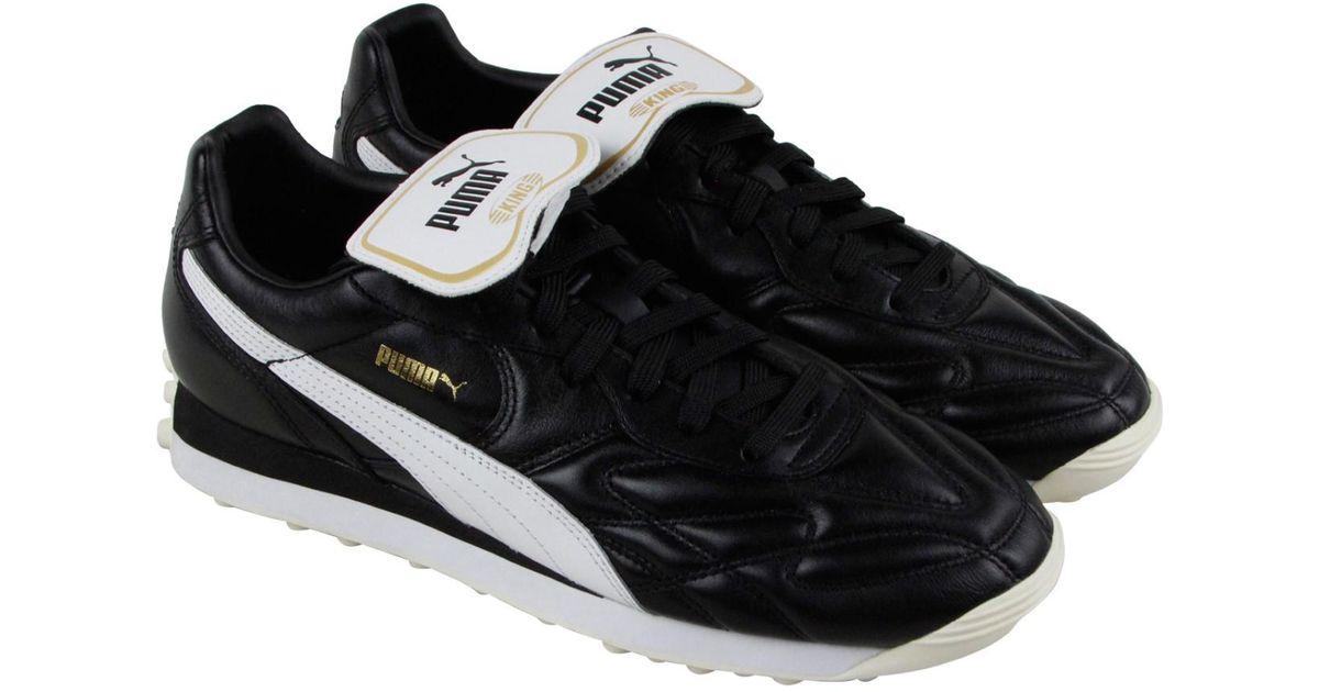 d5716b637e72 Lyst - PUMA King Avanti Premium Whisper White Team Gold Athletic Training  Shoes in Black for Men