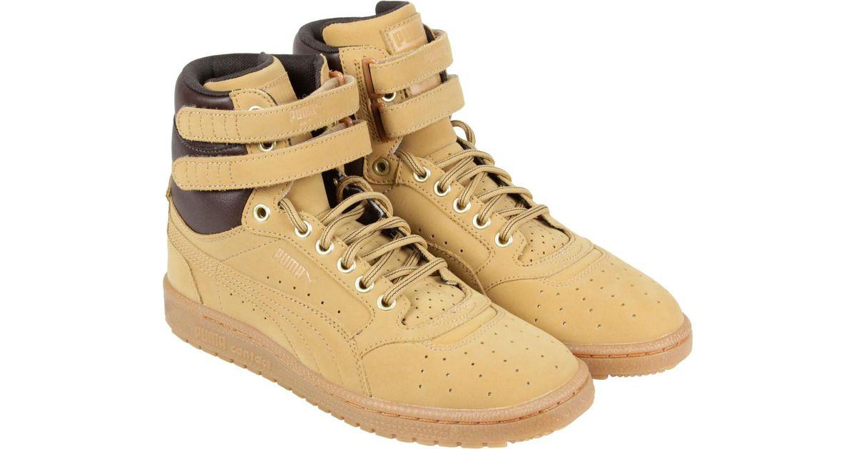 Puma Sneakers Black And Gold Sky Ii Hi Yellow