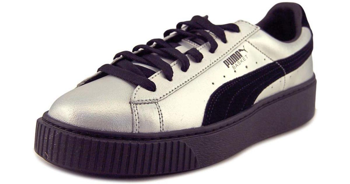 Lyst - PUMA Basket Platform Explosive Women Us 11 Silver Sneakers in Black 25fe35c00f70