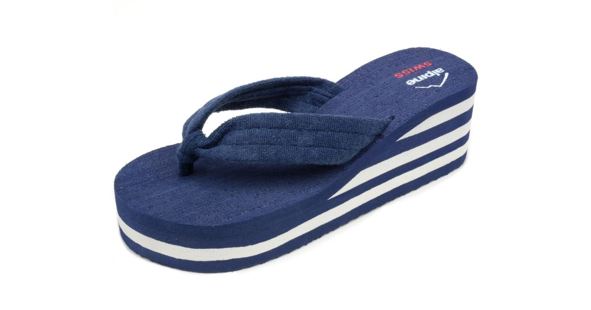 25559a0fbfb7cd Lyst - Alpine Swiss Womens Flip Flops Sandal Soft Terrycloth Thongs  Platform Wedge Heel in Blue