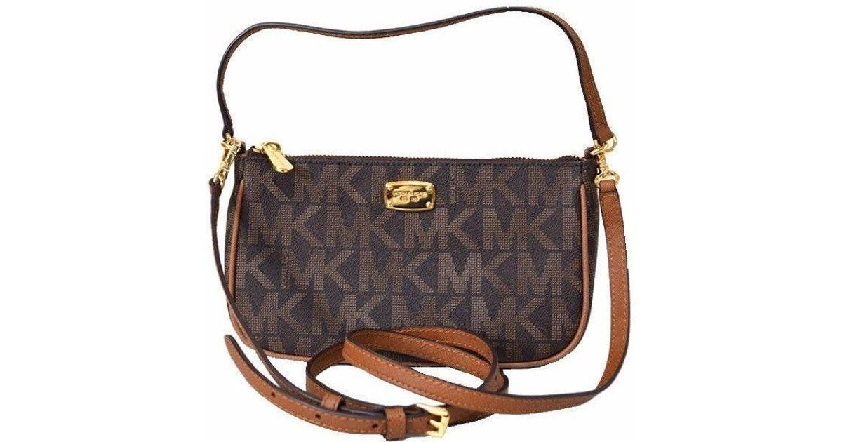 696912719f90 Michael Kors Jet Set Crossbody Pouchette Brown Mk Signature Convertible Bag  in Brown - Lyst