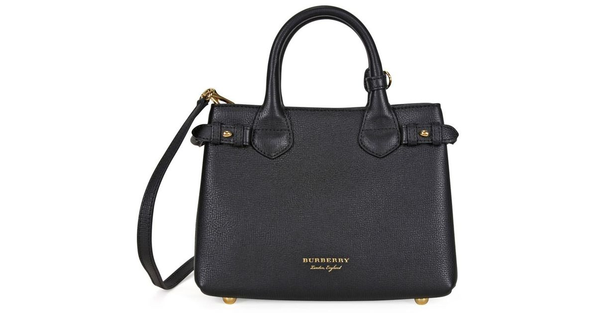 9ce171b4bd24 Lyst - Burberry Small Banner House Check Derby Tote - Black in Black