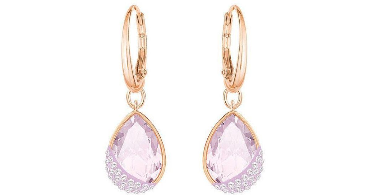 d710e13f9253f0 Swarovski Heap Pear Pierced Earrings - Violet - Rose Gold Plating - 5351136  in Pink - Lyst