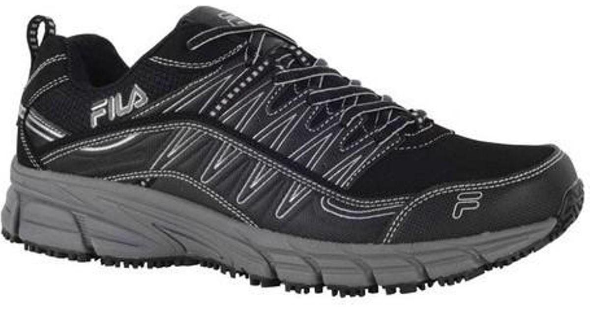 check out a332e fb988 Lyst - Fila Memory Primeforce Slip-resistant Trail Runner in Black for Men