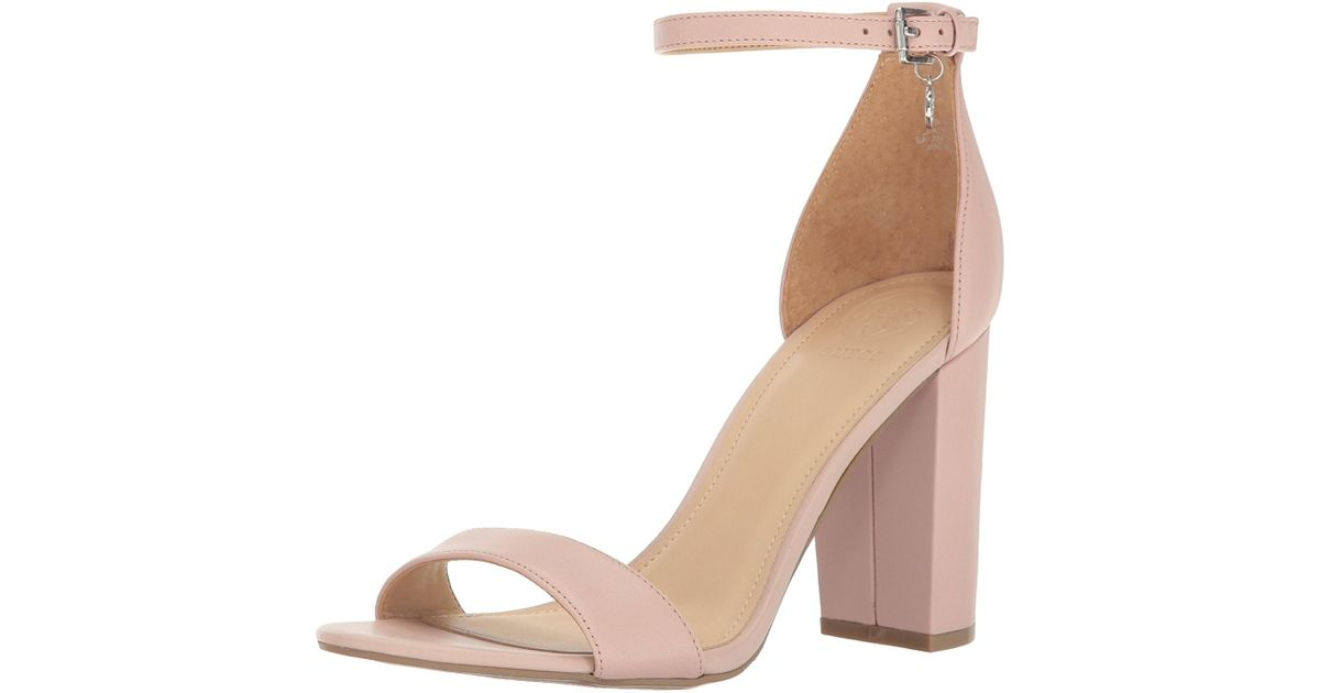 127b5a9f51a Lyst - Guess Bamboo Ankle Strap Heeled Sandals in Pink