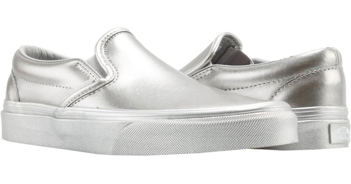 Lyst - Vans Classic Slip On Metallic Sidewall Silver Low Top Sneakers  Vn0a38f7qtv in Metallic for Men 091ae57aa
