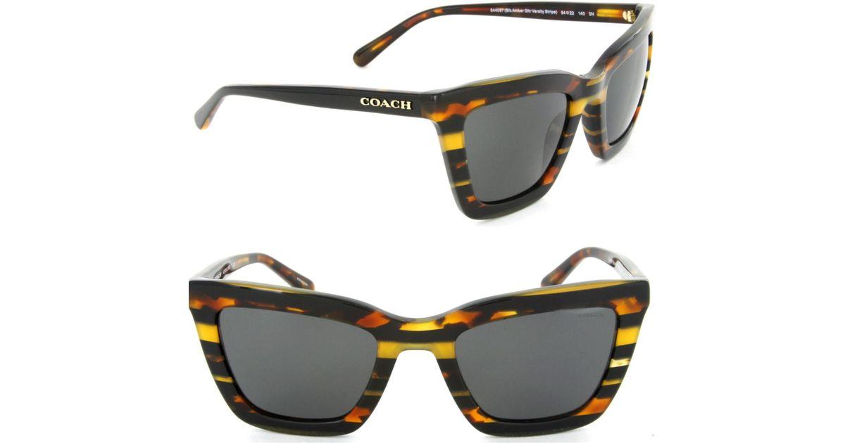6bd035928c Lyst - COACH Sunglasses Hc 8203 544087 Blk Amber Gltr Varsity Stripe