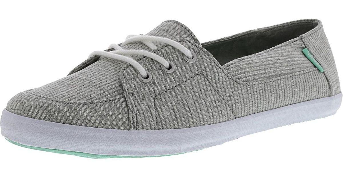 93f87c505c Lyst - Vans Women s Palisades Vulc Brushed Stripe Ankle-high Canvas  Skateboarding Shoe in Gray