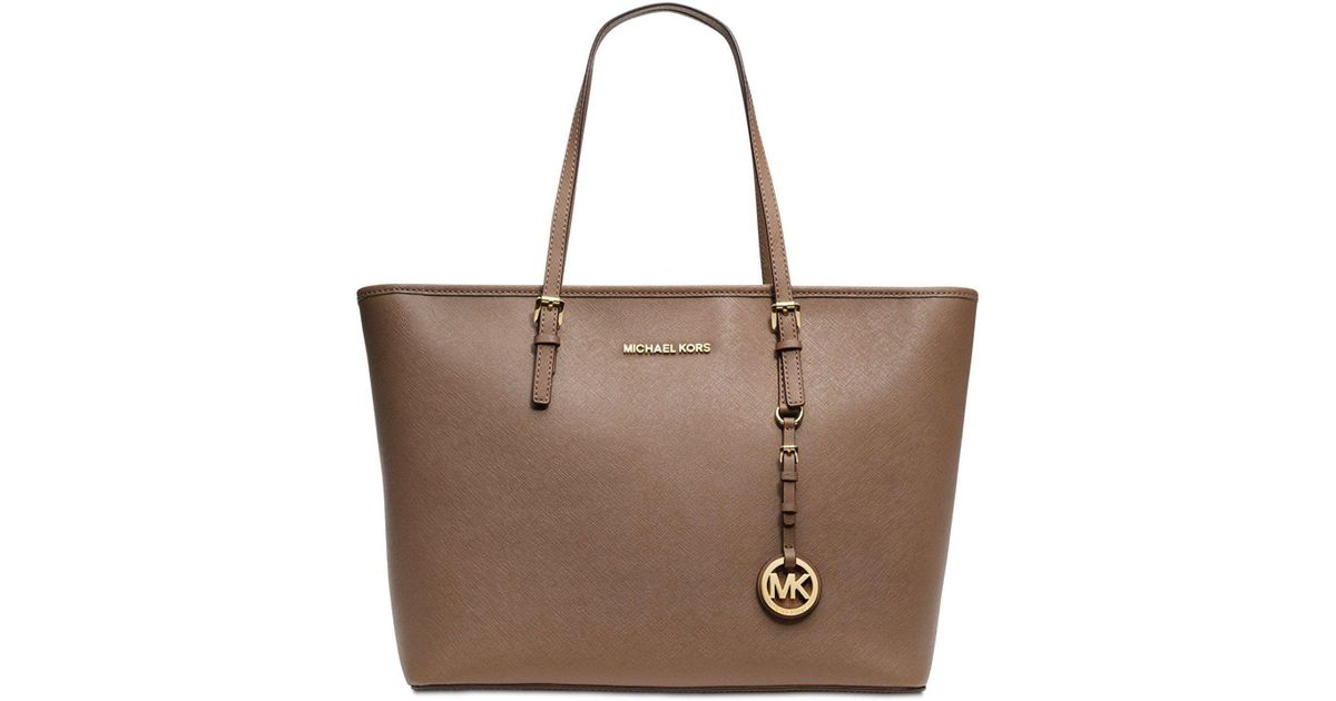 2a9131f83c292d Lyst - Michael Kors Dark Dune Saffiano Leather Jet Set Travel Top Zip Tote  in Brown
