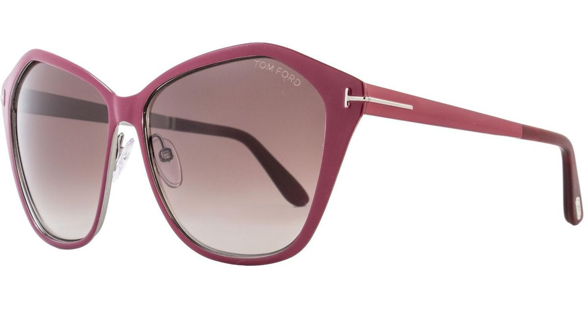 8e4b8802241 Lyst - Tom Ford Sunglasses Lena Tf 391 Ft 69z Shiny Bordeaux   Gradient