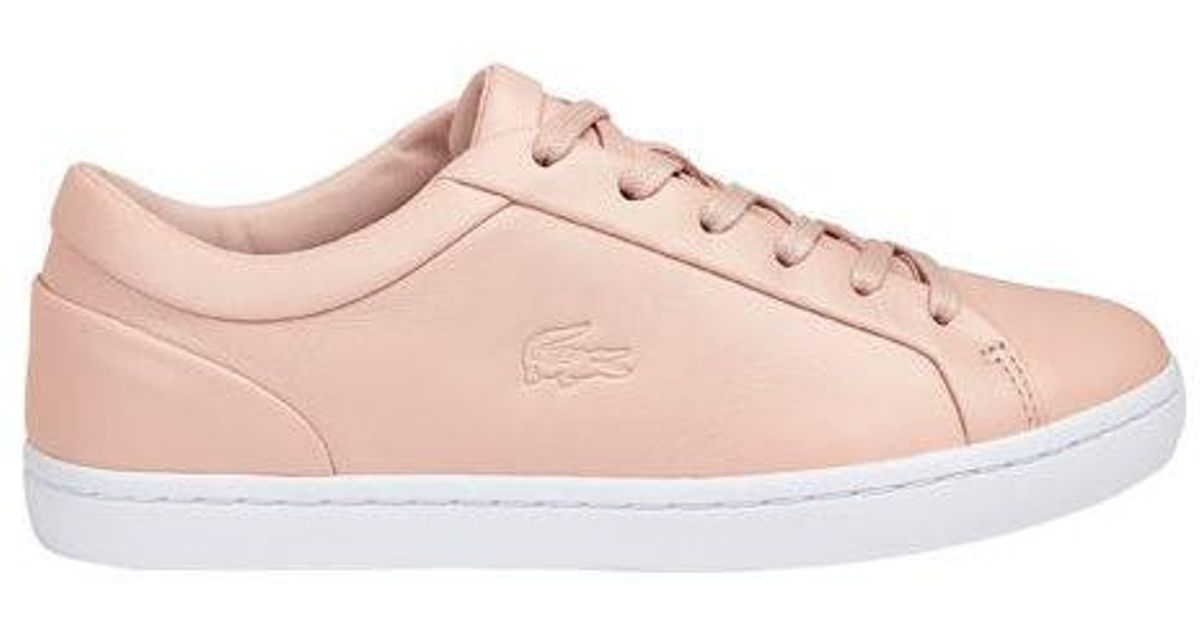 c1674cdc632eb Lyst - Lacoste Straightset Leather Sneaker in Pink