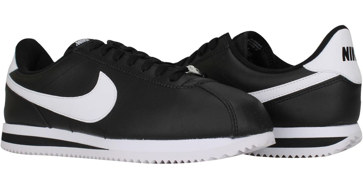 620d2074a8a Lyst - Nike 819719-012 Cortez Basic Leather  metallic Silver white in Black  for Men