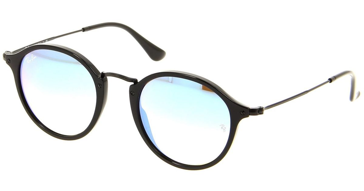 8e3bc6c82e Lyst - Ray-Ban 0rb2447f 901 4o 52 Shiny Black mirror Gradient Blue Icons  Sunglasses