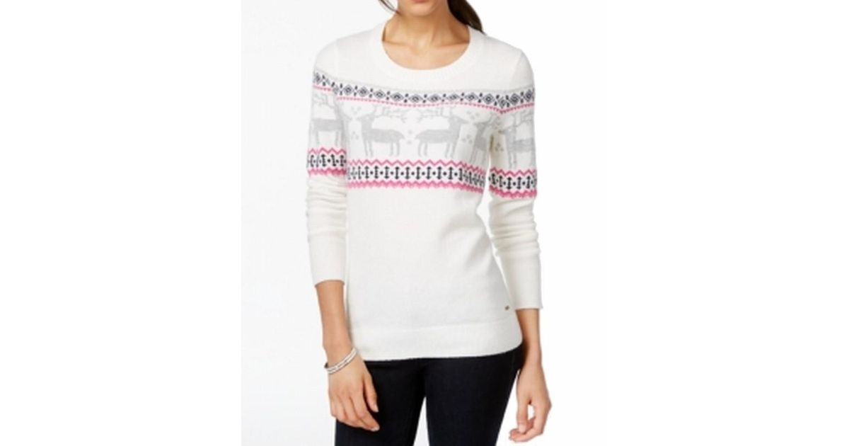 Lyst - Tommy Hilfiger White Size Xl Christmas Reindeer Sweater in White