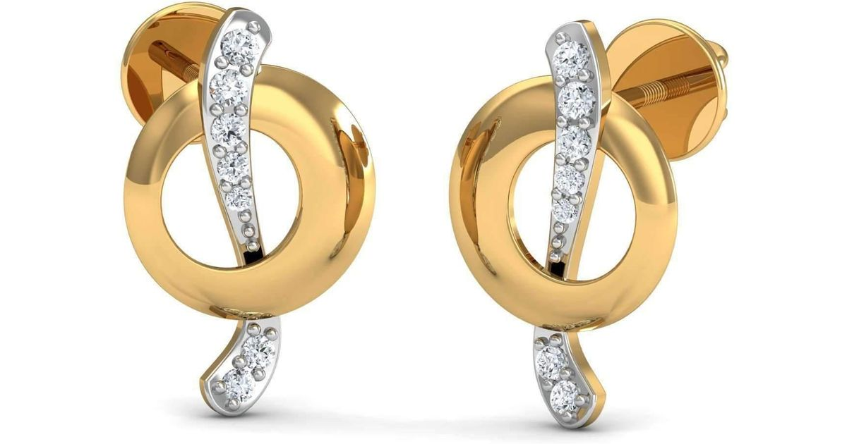 Diamoire Jewels 14kt Yellow Gold and Premium Diamonds Nature Inspired Pave Earrings 6S0uET5wE