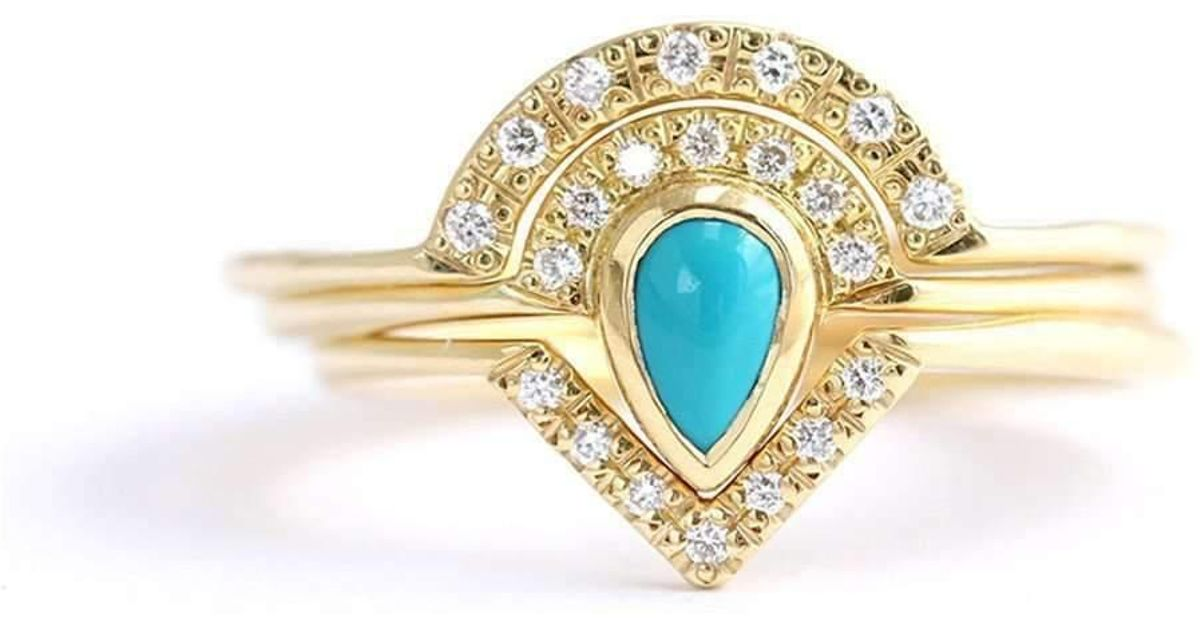 Lyst - Artemer Turquoise Bridal Set With Diamond Wedding Rings