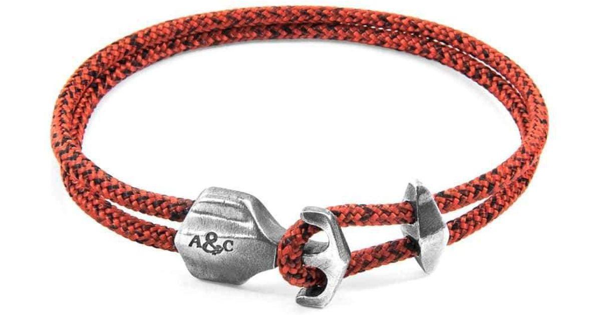 Anchor & Crew Red Noir Delta Anchor Silver & Rope Bracelet 5tnqjUP