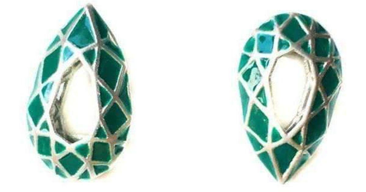 toosis Emerald Green Drop Geometric Sterling Silver Earrings With Enamel sYw87
