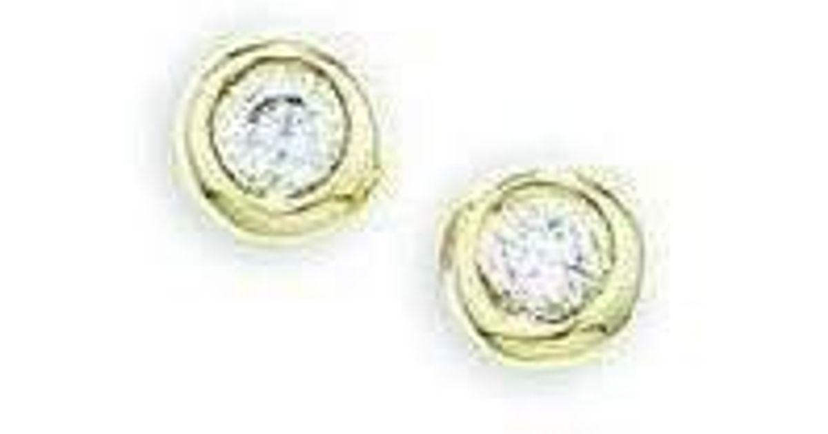 London Road Jewellery Stylish Yellow Gold Diamond Raindrop Stud Earrings INyose