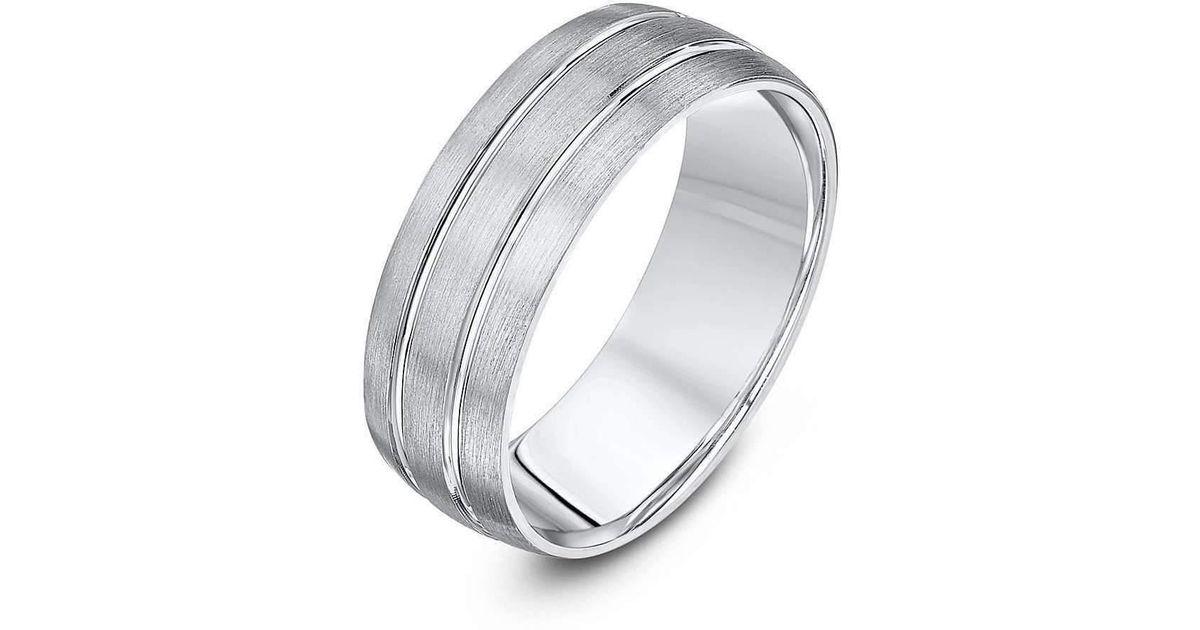 Lyst Star Wedding Rings Palladium Court Shape Matt With Two